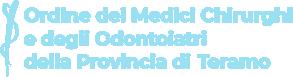 logo bianco dell'Ordine dei Medici Chirurghi e Odontoiatri della Provincia di Teramo